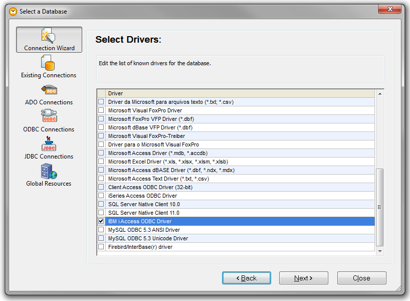 Select Database Drivers on