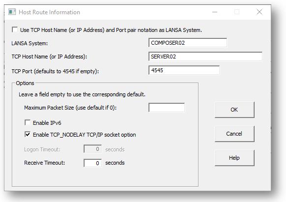 Connect to LANSA Composer Server